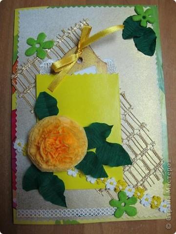 У меня очередная открытка)) Основа - упаковка от цветного картона - чего добру-то пропадать!)) В середине - желтый кармашек для тега фото 1