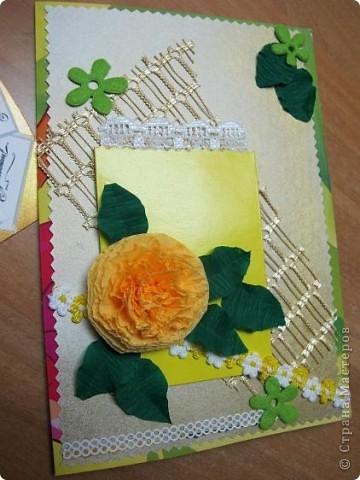 У меня очередная открытка)) Основа - упаковка от цветного картона - чего добру-то пропадать!)) В середине - желтый кармашек для тега фото 3