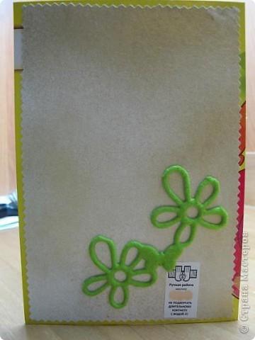 У меня очередная открытка)) Основа - упаковка от цветного картона - чего добру-то пропадать!)) В середине - желтый кармашек для тега фото 7