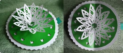 Белый ватман, зеленый картон, ножницы, нож, карандаш - и родился белый лотос фото 1