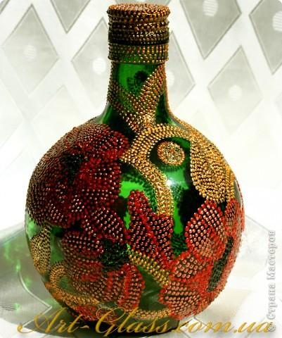 Роспись бутылки. Маки. фото 2