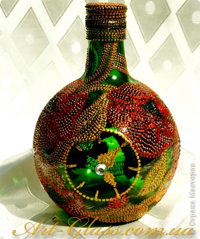Роспись бутылки. Маки. фото 1