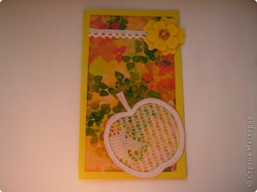 Это моя 3 открытка по скетчу. Здесь яблочко не золотое, а ... фото 1