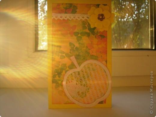 Это моя 3 открытка по скетчу. Здесь яблочко не золотое, а ... фото 4