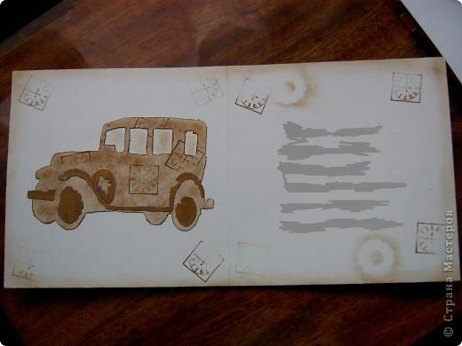 Открытки делала для родителей. Сразу не показывала - лето, отдых... ))) Это открытка для папы. Поскольку он автомобилист - очень любит машины, долгое время работал водителем, поэтому в открытке есть элементы, связанные с машинами. фото 4