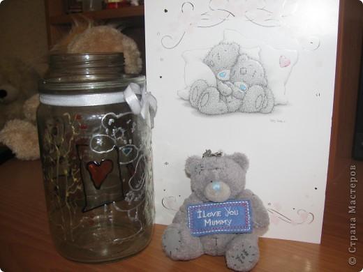 Такой подарок я сделала для своих родственников! думаю, что вы поймете как сделать такую красивую баночку в стиле Teddy bear. фото 1