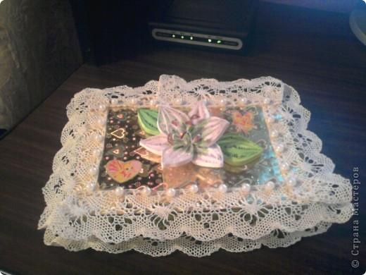 """На день рождения племянницы, сдела по МК мастериц """"Страны мастеров"""" подарок шкатулку, для разных девичьих безделушек. Получилось для Лилии -  шкатулка с лилиями. Огромное спасибо мастерицам, которые создают такие понятные МК. фото 1"""