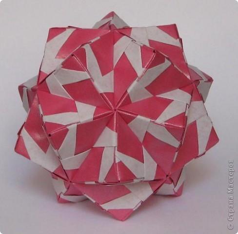 """Привет всем! Поздравляю всех с днем шахтера! Я сама живу в шахтерском поселке и многие из родни у меня шахтеры. В общем я по-быстренькому, скоро стемнеет - побегу на салют.   Sonobe var. by Mette Peterson Схема в книге М. Петерсона """"Origami club 1"""", c. 32 фото 1"""