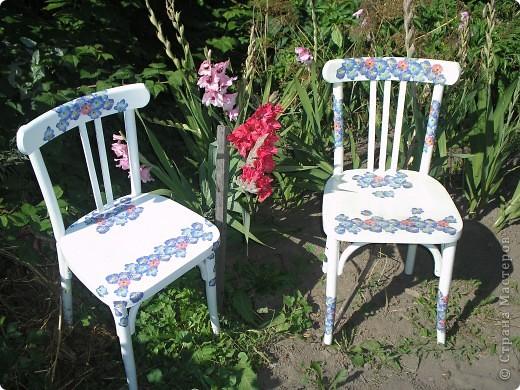 """Вот такие стулья получились у меня. Конечно, не шедевр. Просто были в деревне старые-старые коричневые стулья (фоток """"до"""" я, к сожалению, не сделала), которые захотелось немного отреставрировать."""