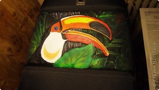 """Роспись чемодана """"Африка"""" акрилом и контурами фото 3"""