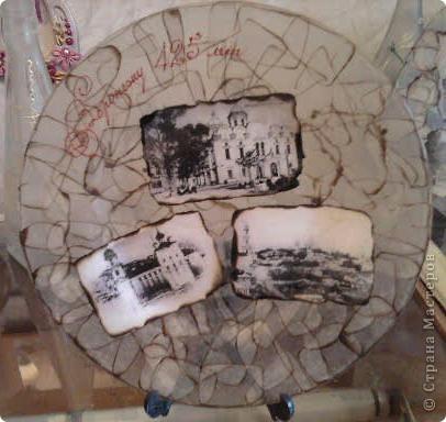 к юбилею города сделала вот такие сувениры- обратный декупаж и контуры фото 4