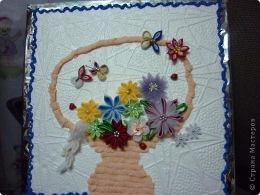 панно с цветами в стиле канзаши