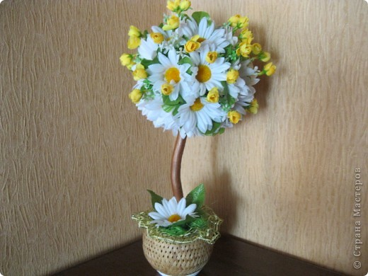 Дерево из искусственных цветов своими руками фото
