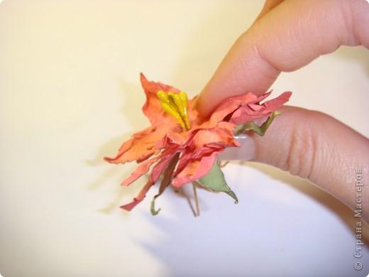 """Я обещала МК цветочка. Такого, как на этой открытке: http://stranamasterov.ru/node/229115 Выполняю обещание. Для изготовления этого цветка нам понадобятся следующие материалы: бумага двух цветов - для цветочка и листика ( сейчас у меня бумага собственного изготовления, а на открытке - акварельная), шнурочек и гуашь для тычинок, вода (в стаканчике или в спрее), прищепки (можно заменить скрепками), ножницы, клей. Еще забыла сфотографировать пинцет и лак бесцветный для ногтей """"Быстрая сушка"""".  фото 11"""