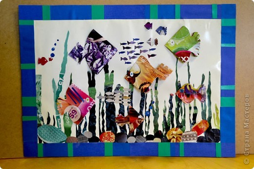 """""""Маки и ромашки"""" - панно из цветной и белой бумаги,фон слегка покрашен акварелью. фото 3"""