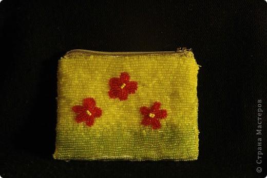 Кошелёк из ткани, вышитый бисером фото 3