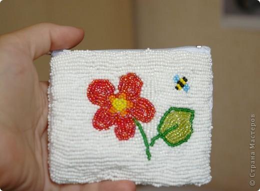 Кошелёк из ткани, вышитый бисером фото 2
