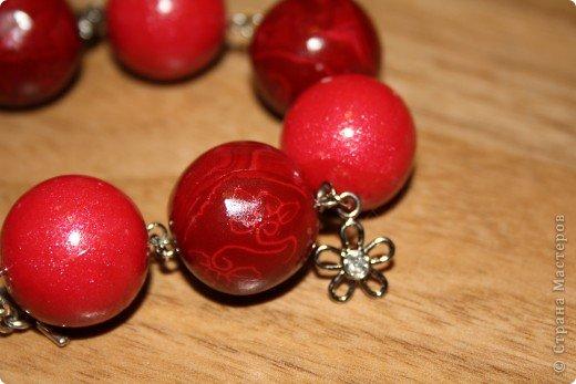 Набор, малиновая радость состоит из браслета и кулона.  фото 2