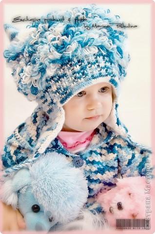 """Забавная котошапка """"Мой голубой котенок"""" весна/осень, двойная, с ушками фото 3"""