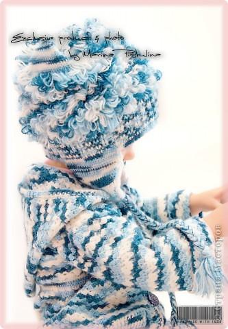 """Забавная котошапка """"Мой голубой котенок"""" весна/осень, двойная, с ушками фото 4"""