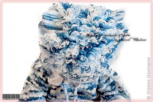 """Забавная котошапка """"Мой голубой котенок"""" весна/осень, двойная, с ушками фото 5"""