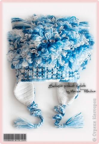 """Забавная котошапка """"Мой голубой котенок"""" весна/осень, двойная, с ушками фото 1"""