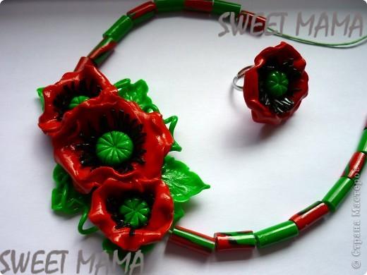 Маки, ожерелье и кольцо. фото 1