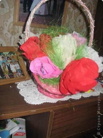 Вот такую корзиночку зделала сынуле в сад.Даже не думала,что получится красиво,я очень люблю пионы,как они паааахнут:)потому и не делала розы.СПАСИБО МАСТЕРИЦАМ за мк по поводу оформления свит дизайна))))