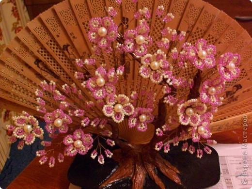 Ну вот и я сделала ветку сакуры на фоне веера))) Спасибо  за идею МаринеИгор. Глядя на ваши веера с сакурой и мне захотелось сделать такой. фото 4