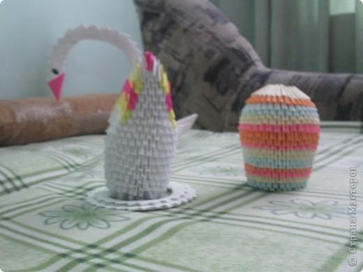 Вазочка и лебедь из модулей оригами.