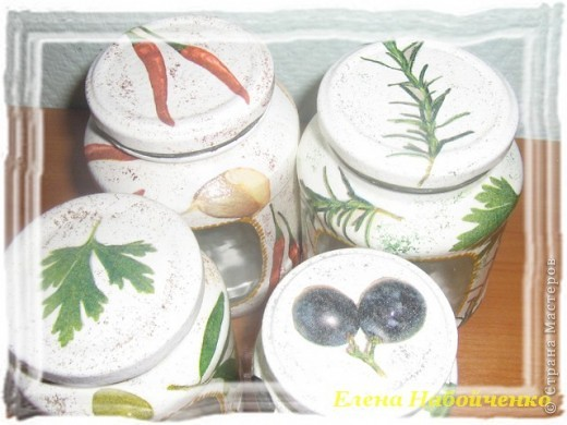 Вот с таких баночек я начала украшение кухни, но мне досталось всего две, которые стоят в центре. фото 3