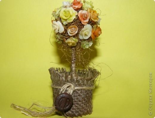 """Вот такое дерево у меня выросло! Розочки налепливала сразу на булавки, которые потом укорачивала вполовину кусачками, посадила его в мензурку от сиропа от кашля (20 мл). А пенопластовый шарик, на который """"накалывались"""" розы, я облепила """"волосиками"""" от кукурузы :) фото 1"""