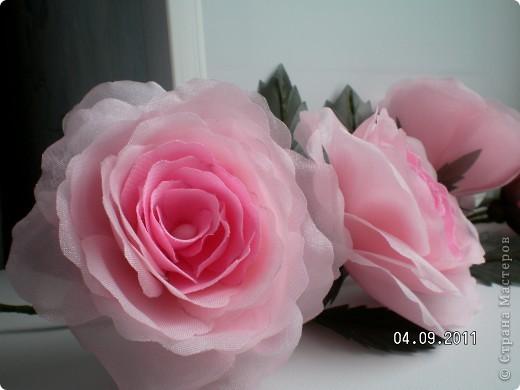 Доброго времени суток, мои дорогие. Очень захотелось показать Вам работы моей дорогой и любимой мамочки. Эти цветы все сделаны из ткани.  Ветка розы фото 2