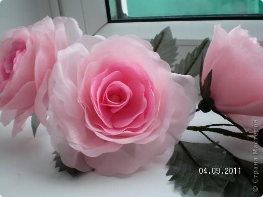 Доброго времени суток, мои дорогие. Очень захотелось показать Вам работы моей дорогой и любимой мамочки. Эти цветы все сделаны из ткани.  Ветка розы фото 4