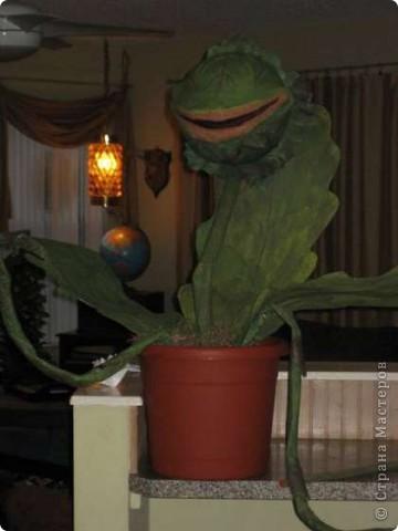 Это дикое, но симпатичное растние зовут Одри II, оно сделано к Хэллоувину из папье-маше. Для чего и кому может пригодиться подобный мастер-класс, я однозначного ответа дать не могу, но по-моему, отличный домашний любимец, как считаете? фото 2