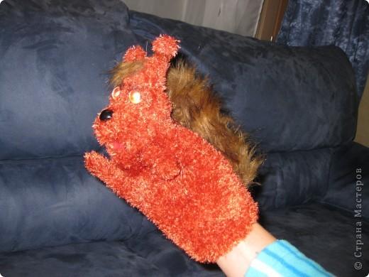 Вот такие зверушки-перчатки сегодня родились.Собачка была сшита уже давно по МК Многомамы-спасибо ей огроменное!А коллега по работе попросила сделать белочку и зайку для своих первоклашек.Это герои из учебника. фото 3