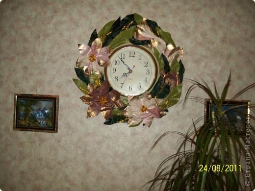 Висели часы... много лет.... просто беленький кружок.... надоело...  Была обувная кожа... может немного грубовата... но мне нравится... фото 1