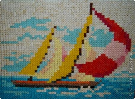 """Ещё один вариант модульного оригами. В основе лежит модуль """"Тройной блинччик"""". Панно """"Яхты"""". фото 1"""