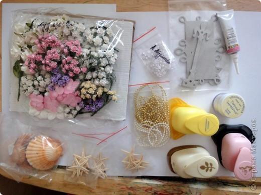 С начала лета начала заказывать себе материал для скрапбукинга. Вот сегодня пришла последняя посылка и я решила ... похвастаться)))  Цветочки,  цветочный микс, брадс, чипборд, двухстороний скотч, пуговички, бусины на леске фото 6