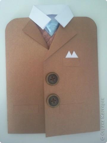 Вот такая открытка получилась для папы коллеги по работе) ....золото )))))) Расстегиваем пиджак....   фото 1