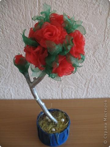 На такое деревце из органзы конечно же меня вдохновила своими прекрасными работами svet71, а за МК роза из ткани СПАСИБО Колериночка http://stranamasterov.ru/node/182273?c=favorite фото 1
