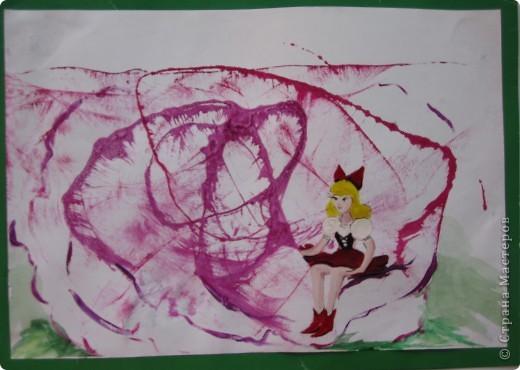 Рисунок ватными палочками на цветном картоне. фото 2