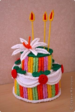 торт из гофрированной бумаги фото 1