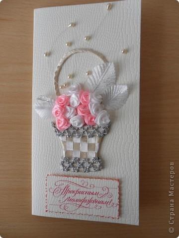 Были заказаны 2 открытки на одну и ту же свадьбу. Понравилась моя работа по  мотивам работ Елены Милбрадт http://stranamasterov.ru/node/131680 Подавай сердечки, и все тут! Пришлось подумать, чтобы открытки получились совсем разными фото 1