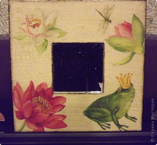 Зеркало Икеа, 2 салфетки, кракелюр, битумный лак, золотой контур... фото 1