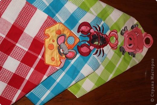 мои первые полотенца. аппликация, вышивка машинная! фото 1