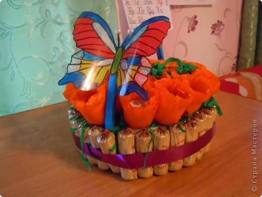 Приближается день рождения дочери,побродив по Стране решила попробовать сделать сладкую конфетную корзинку,результат конечно неудовлетворил меня.Но я очень старалась.Идея взята у  tanjuscha  фото 1