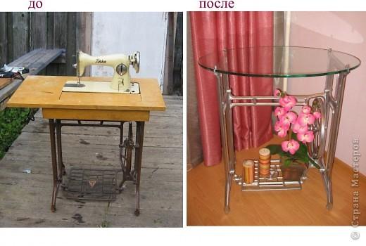 Была старая швейная машинка, которой уже давно не пользовались. Выкинуть было жалко, решила использовать в интерьере. Вот что получилось