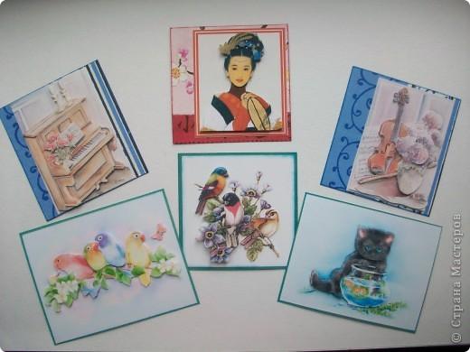 Попросила меня сотрудница сделать картинки в качестве призов на свадьбу. Хотела подарить календарики, да посчитала, что это слишком просто. Вспомнила про мои 3D карточки и заказала 6 штук. Хочу вам показать. Может сама идея для кого то и пригодится. фото 1