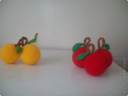 Моя младшая дочурка ходит в детский садик, и что бы как-то разнообразить развивающие пособия , я связала вот такие фрукты. Яблочки-желтые и красные по 10 штучек( внутри небольшие мячики пластмассовые), сливы 10 штук (внутри футляр от киндера), вишенки-10 пар(внутри синтепон) фото 6